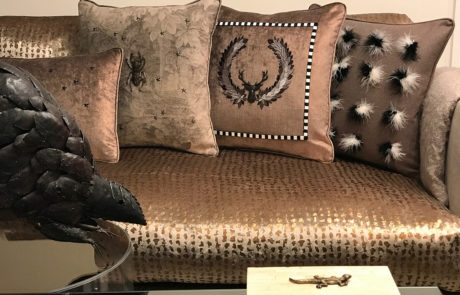 Decorative Throw Pillows on Couch.