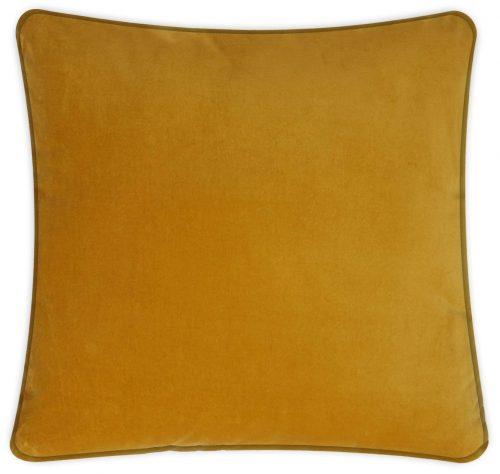 Plain Saffron Velvet Cushion Throw Pillow.