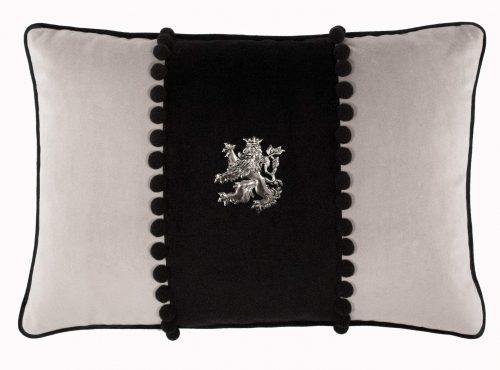 Heraldic Rampant Lion on Two-Tine Cushion.