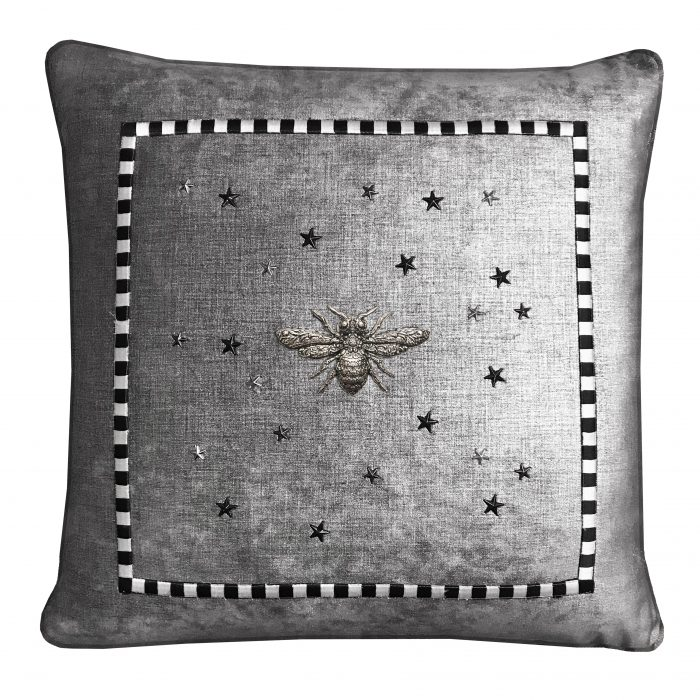Graphite Throw Pillow with Silver Bee and Stars.