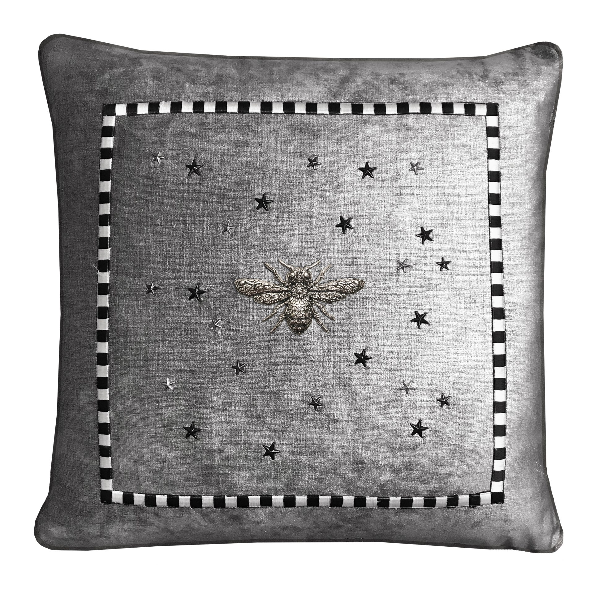 Metallic Fabric Throw Pillow With Check Frame Silver Bee