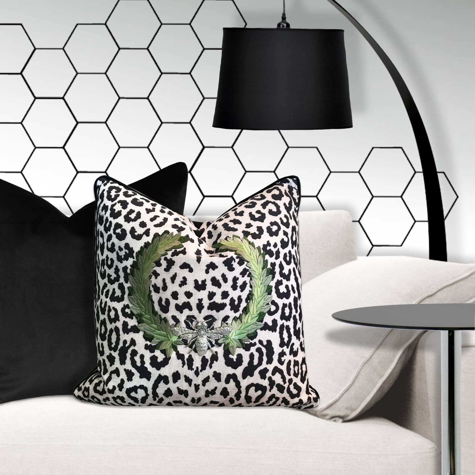 Throw Pillow with leopard spots and silver bee.