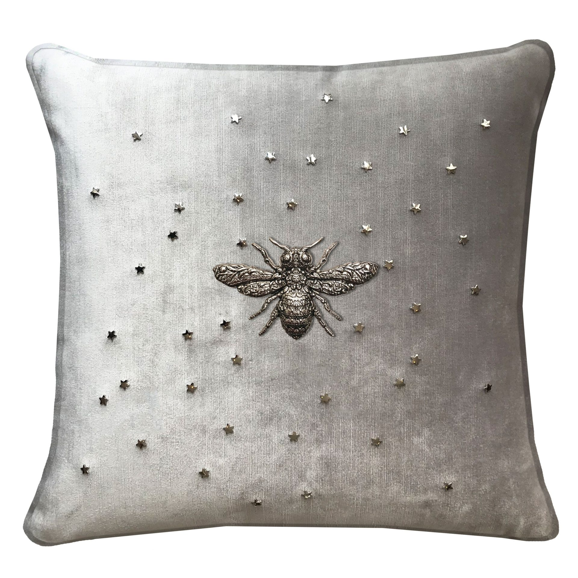 Throw Pillow with Bee and Stars.
