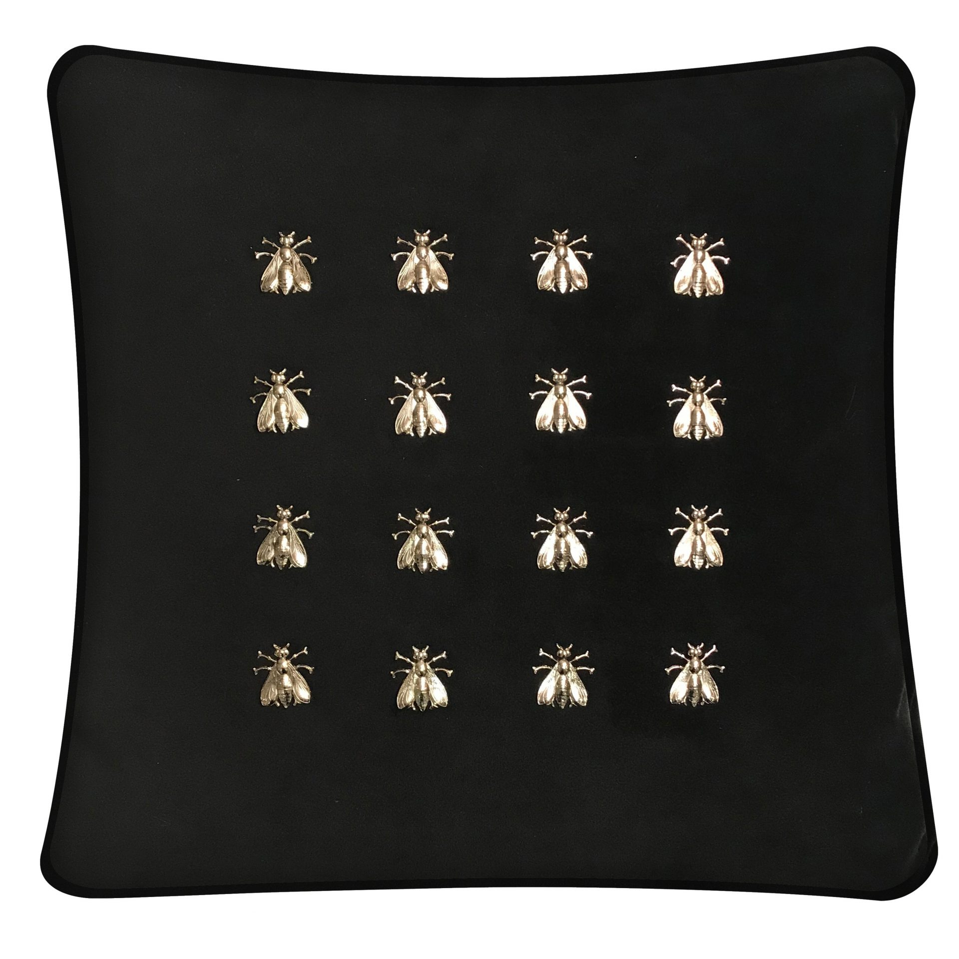 Black Velvet Throw Pillow with 16 Silver Bees.