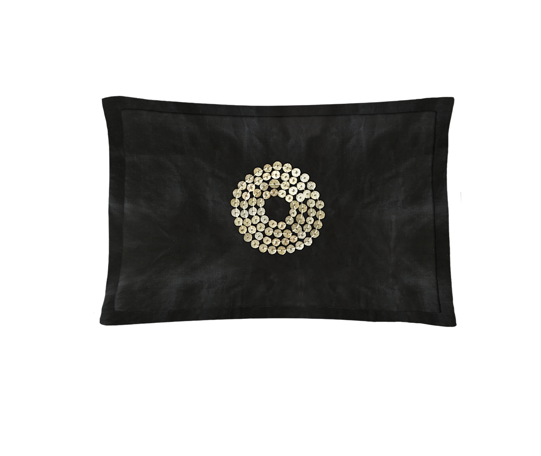 Black Hand-Dyed throw pillow with African hand-made beads.