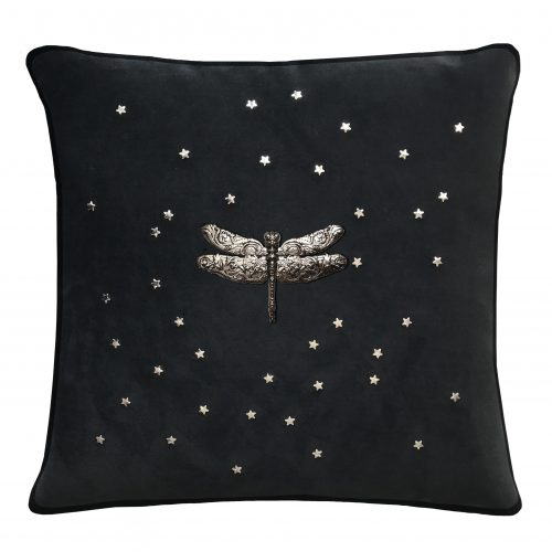 Black velvet throw pillow with silver dragonfly.
