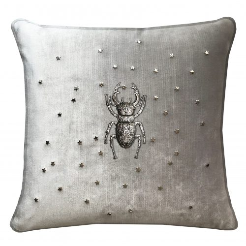 Throw pillow with stag beetle and stars.