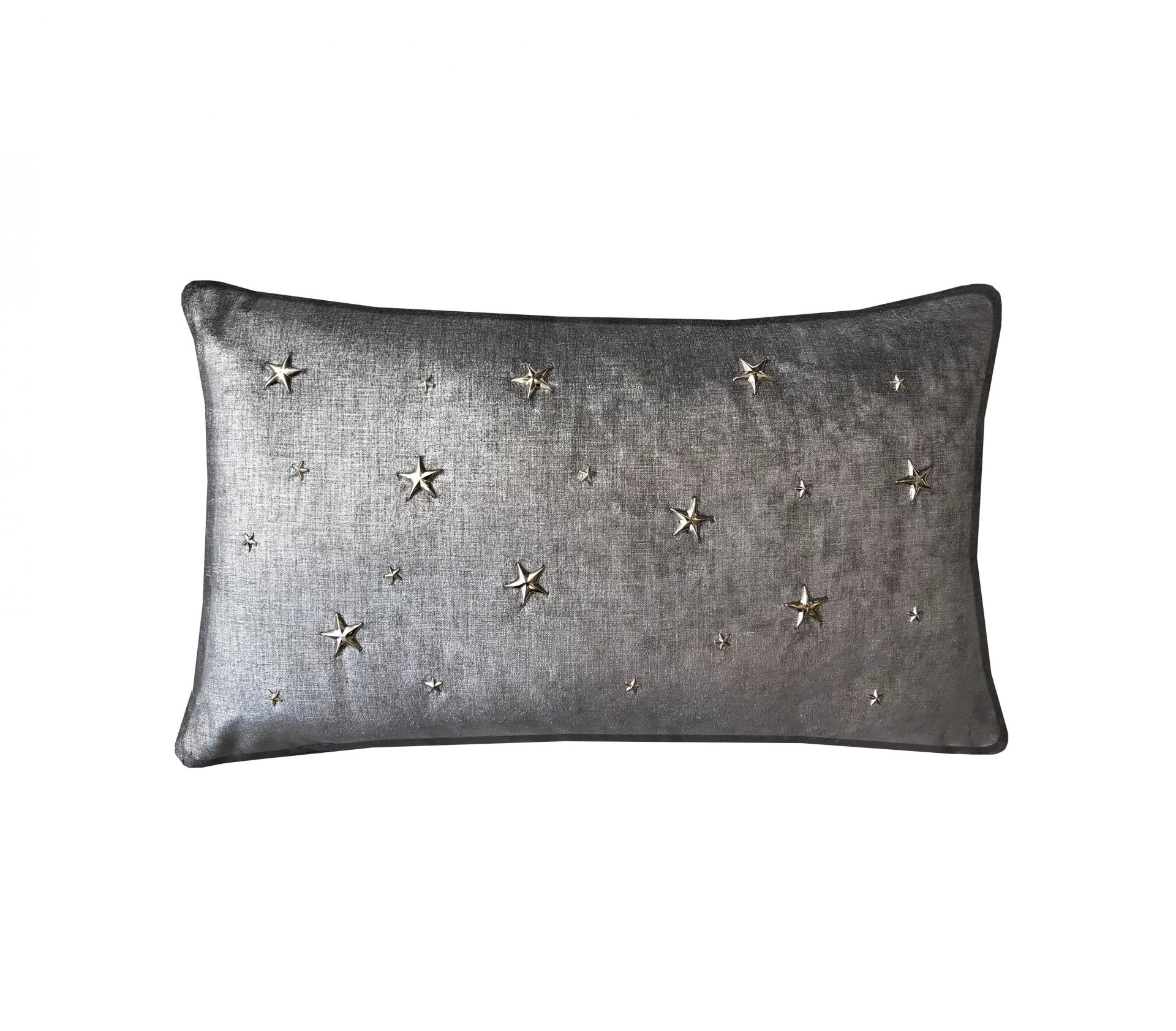 Graphite throw pillow with metal stars.