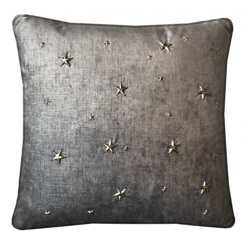 Graphite Metallic Throw Pillow with metal stars.