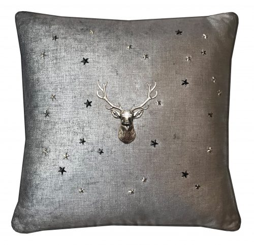 Graphite throw pillow with silver stag and stars.