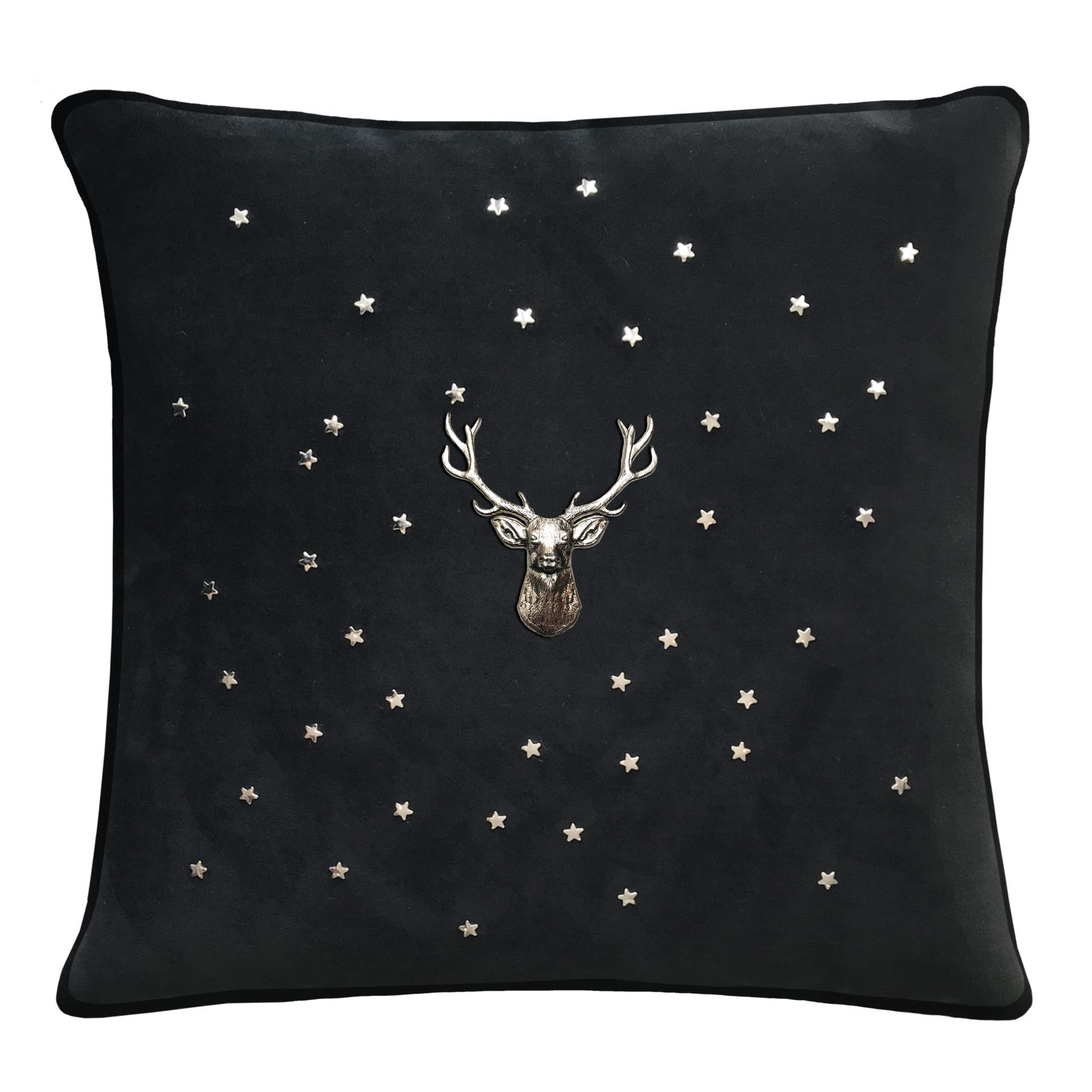 Black throw pillow with silver stag and stars.