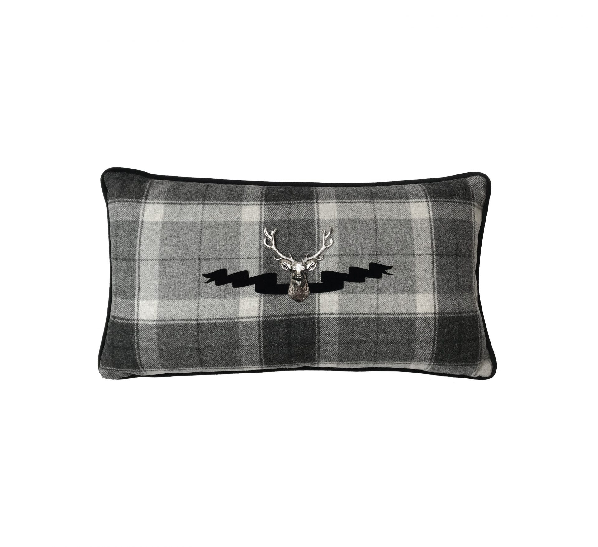 Grey tartan throw pillow with silver stag and velvet ribbon.
