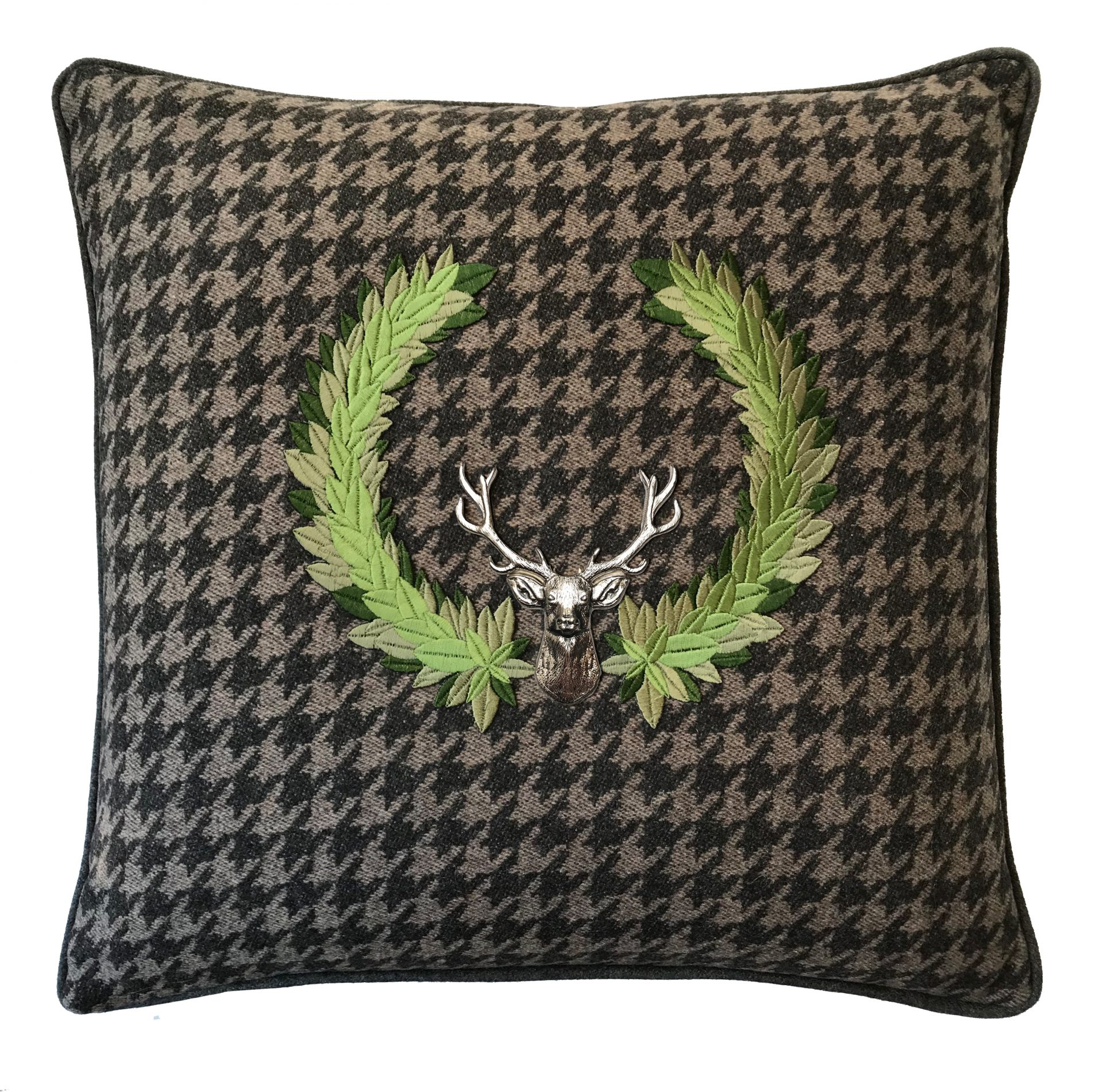 Hounds tooth throw pillow with embroidered detail and silver stag.