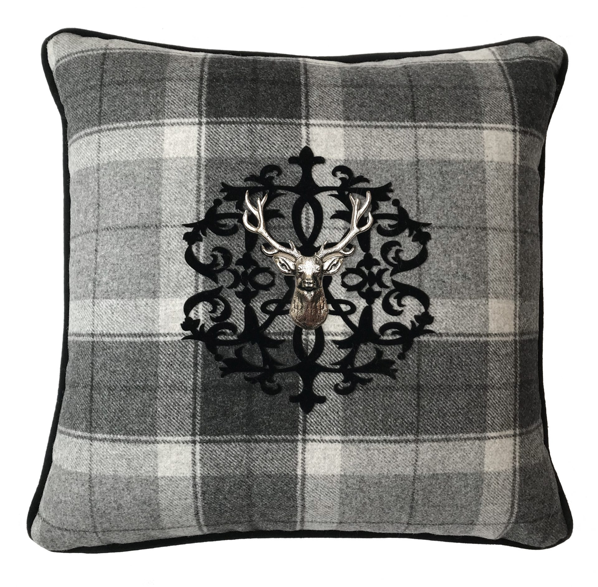 Tartan Throw Pillow With Velvet Applique Monogram And Silver Stag