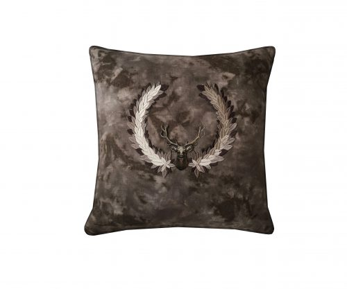 Linen throw pillow with embroidered detail and bronze stag.