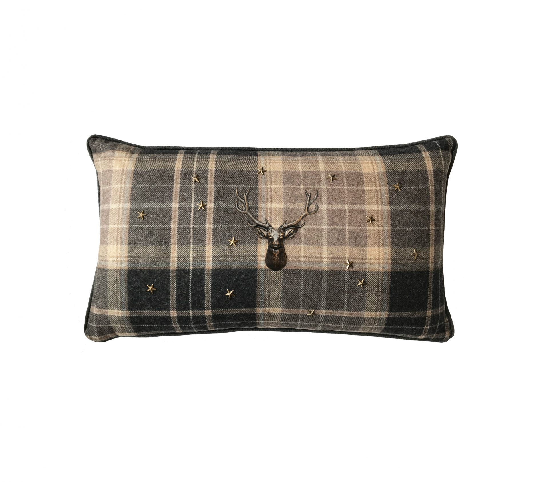 Brown tartan throw pillow with bronze stag and stars.