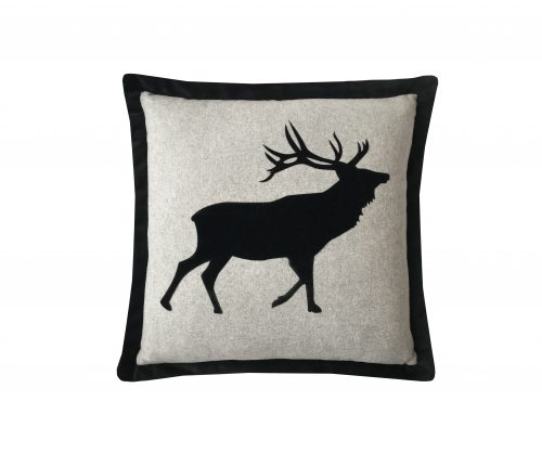 Black velvet applique stag throw pillow.
