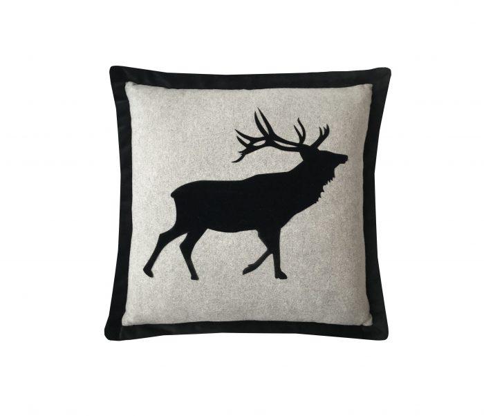 Black velvet applique stag throw pillow.