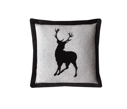 Black applique velvet stag throw pillow.