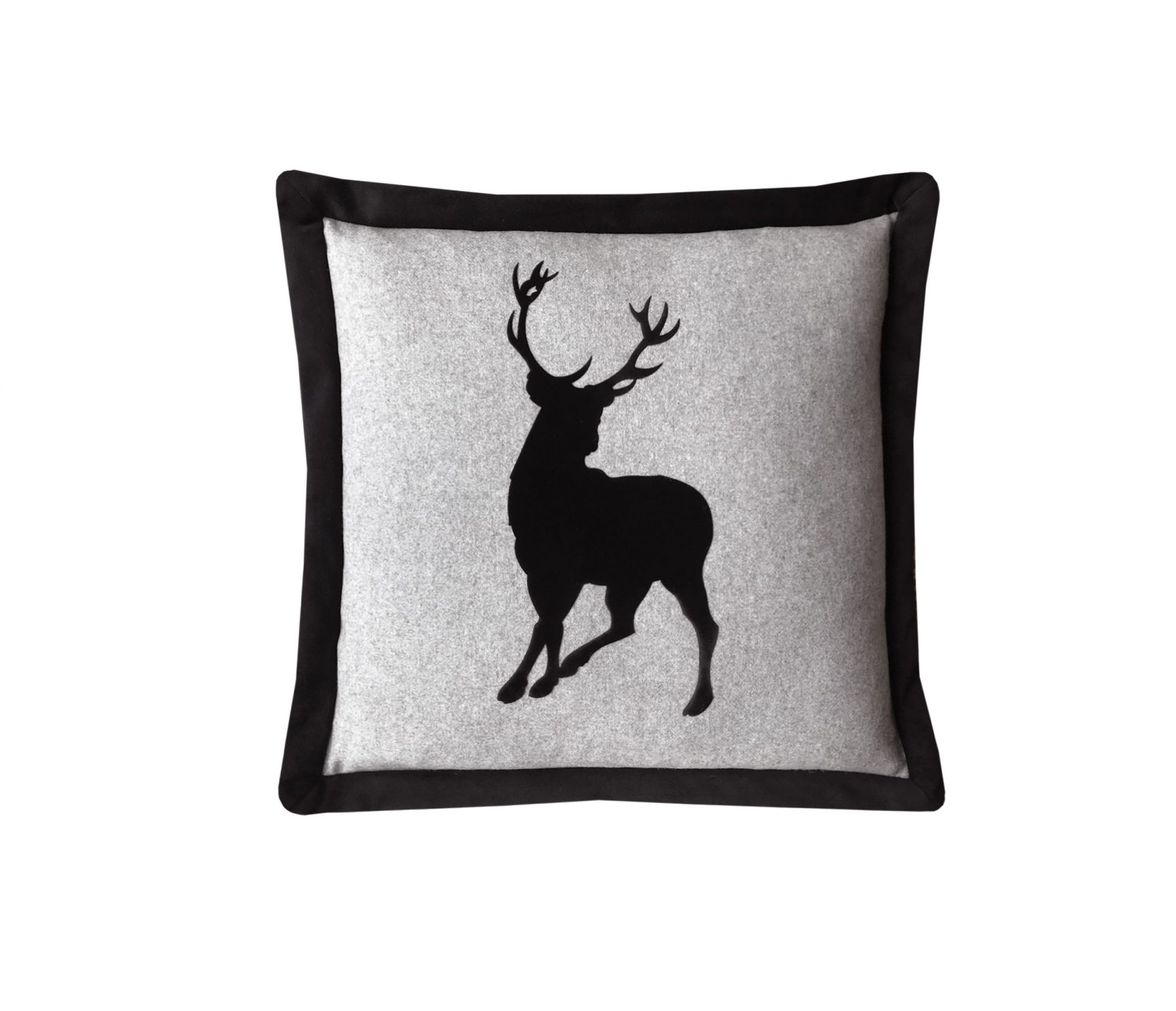 Black applique velvet stag throw pillow.