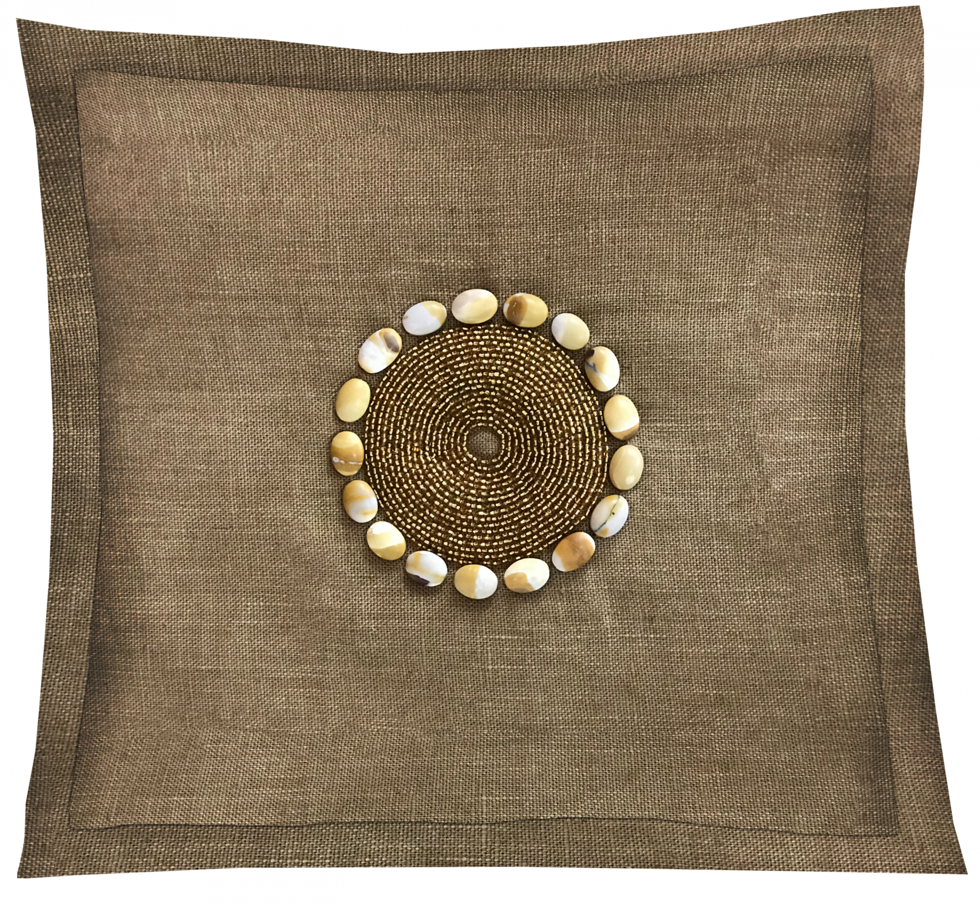 Gold hand-dyed throw pillow with hand-made beads.