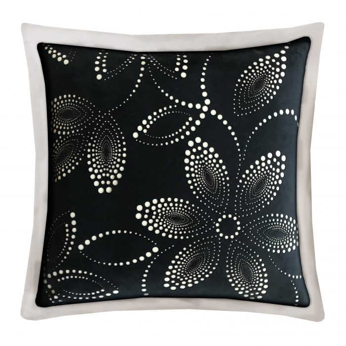 Ivory and Black Velvet Laser-Cut Floral Throw Pillow.