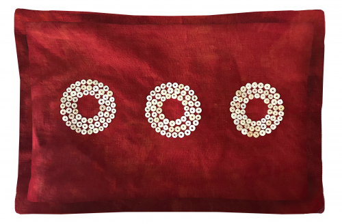 Hand-Dyed Red Linen Throw Pillow with African Hand-Made Sequins.