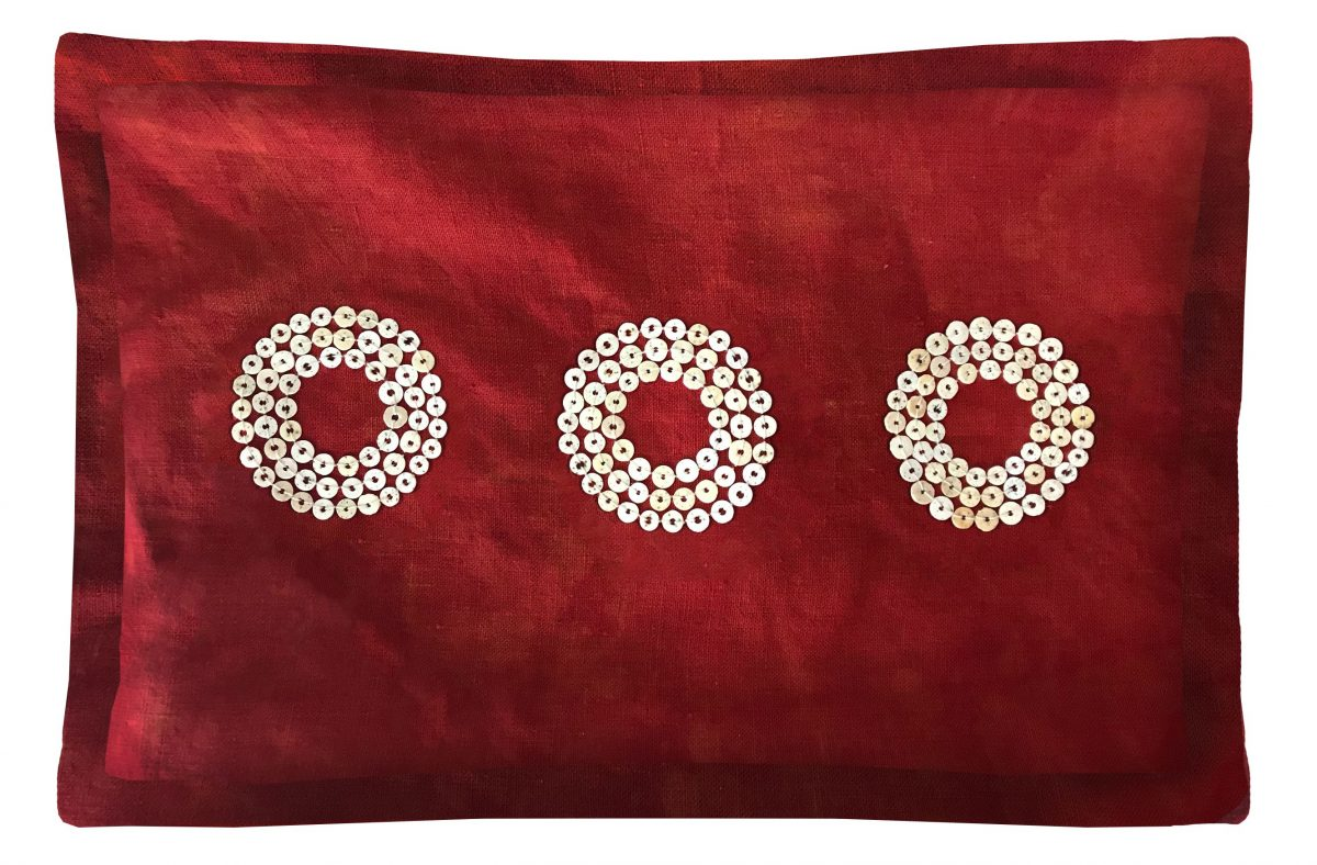 Makena throw pillow. Hand-dyed and beaded throw pillow.