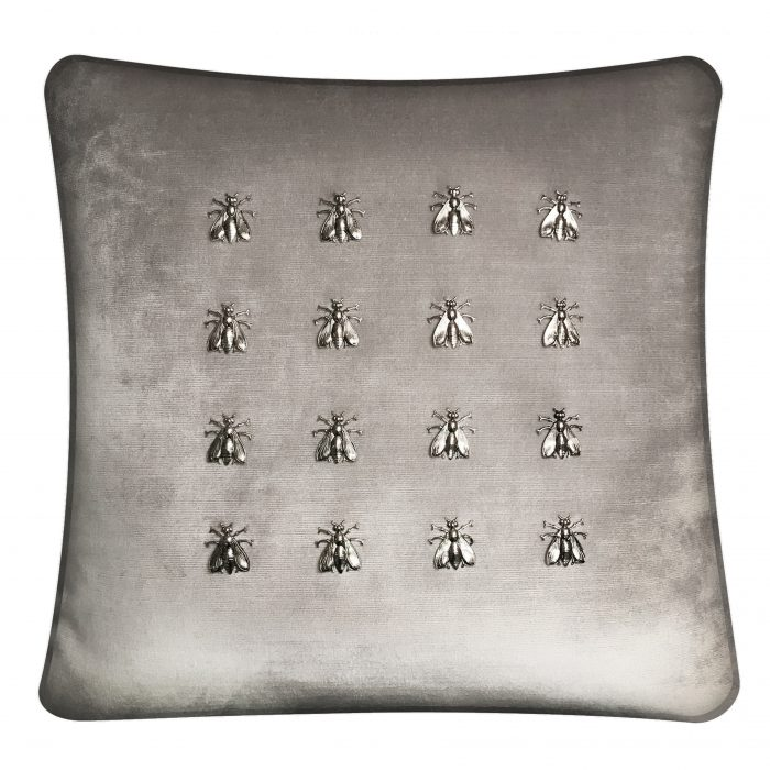 Throw Pillow with 16 Silver Bees.