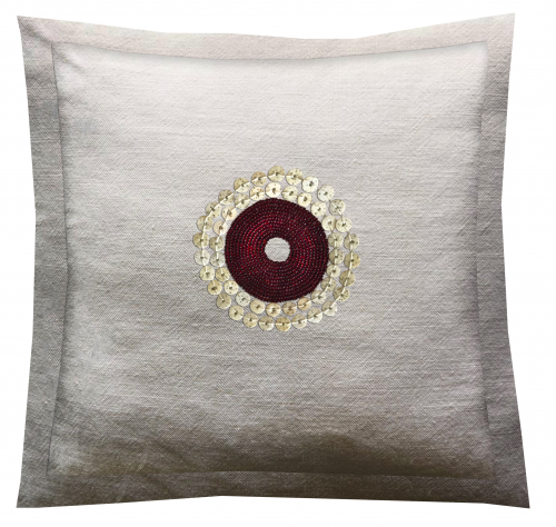 White Linen Throw Pillow with African Beads.