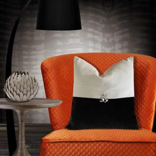 Two Tone cushion with silver lion