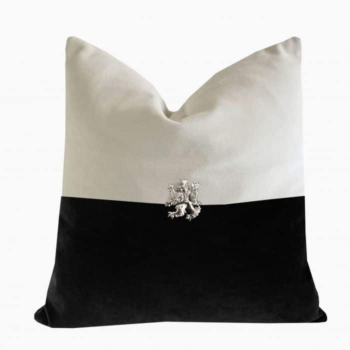 TBlack and bone cushion with silver rampant lion.